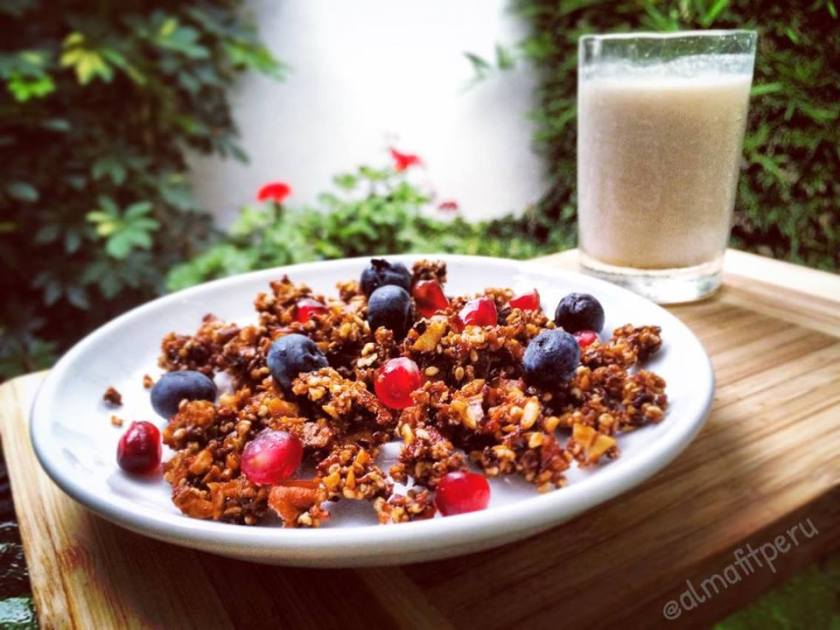 granola con granda y blueberries